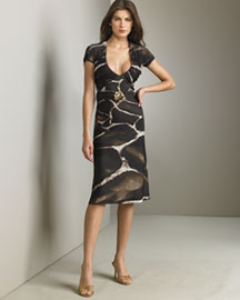 Roberto Cavalli Animal-Print Dress -  Collection -  Neiman Marcus :  animal tonal belt daywear brown