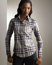 Burberry Metallic Check Blouse -  Burberry -  Neiman Marcus from neimanmarcus.com