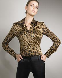 Dolce & Gabbana Leopard-Print Satin Shirt- Dolce & Gabbana- Neiman Marcus