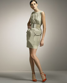Dolce & Gabbana Belted Sheath Dress -  Fine Apparel -  Neiman Marcus :  fashion designer clothes collection fine apparel