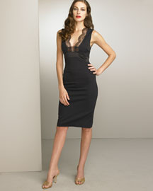 Roberto Cavalli Sheath Dress -  Collection -  Neiman Marcus :  italy scalloped lace roberto cavalli empire waist