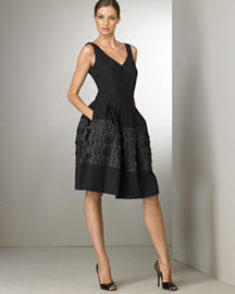 Piazza Sempione V-Neck Dress -  Fine Apparel -  Neiman Marcus :  black dress designer clothes collection fine apparel