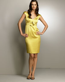 Escada            Bow-Waist Sheath Dress -   		Evening - 	Neiman Marcus :  citrine cap sleeve v neck dress