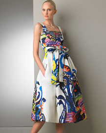 Christian Lacroix Hand-Painted Dress  -  Dresses -  Neiman Marcus :  fashion silk abstract neiman marcus
