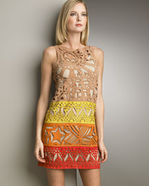 Emilio Pucci Laser-Cut Suede Shift Dress -  Shop Art of Fashion -  Neiman Marcus