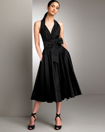 Donna Karan Collection Bow Halter Dress -  Black -  Neiman Marcus