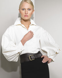 Ralph Lauren Black Label Bishop Sleeve Blouse from neimanmarcus.com