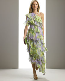 Michael Kors Silk Monet Floral Tiered Gown -  Michael Kors -  Neiman Marcus :  women gown lacoste chic