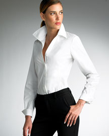 Creative Womens Vintage Embroidered Pleat Tuxedo Shirt French Cuff Blouse