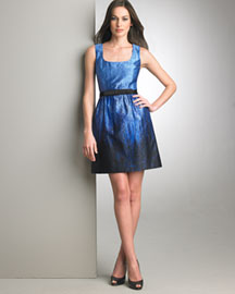 Andrew Gn Acid-Wash Satin Dress -  Apparel -  Neiman Marcus :  blue artsy acid wash satin