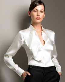 Armani Collezioni Ruffled Satin Blouse -  Pre-Fall Collections -  Neiman Marcus :  skirt satin fall accessories
