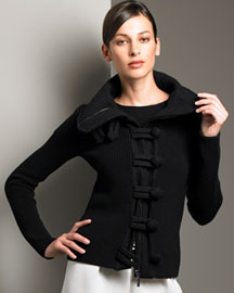 Armani Collezioni Ribbed Wool Knit Jacket :  armani collezioni