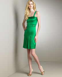 Roberto Cavalli Silk Dress, Green -  Dresses -  Neiman Marcus :  square neckline designer dress natural waist