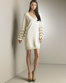 Stella McCartney Rhumba-Sleeve Sweater Dress, Ecru -  Stella McCartney -  Neiman Marcus