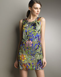 Ginny H Printed Shift Dress -  Neiman Marcus :  floral dress print jeweled