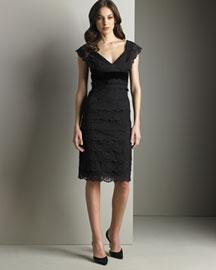 Armani Collezioni Velvet Lace Dress- Neiman Marcus