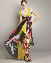 Christian Lacroix            Silk Kimono Gown -   		Christian Lacroix - 	Neiman Marcus :  party clothes silk gown designer gown