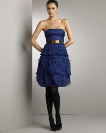 Valentino Lace-Rose Silk Dress -  Neiman Marcus :  nm alessandra fachinetti blue lace