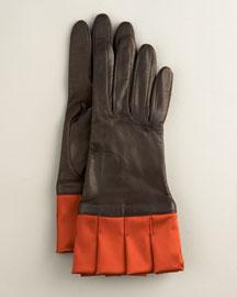 Portolano Products Satin-Cuff Leather Glove- New Arrivals- Neiman Marcus
