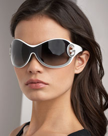 Dolce & Gabbana Shield Sunglasses -  White&Cream -  Neiman Marcus :  luxury silver cocktail neiman