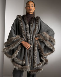 Adrienne Landau Fox Fur Trimmed Cape -  Wraps & Ponchos -  Neiman Marcus :  designer accessories outerwear fashion accessories cape