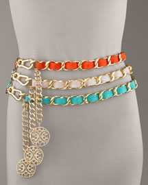 CC SKYE Woven Patent Chain Belt -  Accessories -  Neiman Marcus :  belt trend chic charm evening