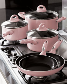 Pink Cookware Set -   		Pink - 	Neiman Marcus :  pink kitchen dutch over porcelain