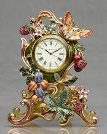 "Jay Strongwater ""Byron"" Butterfly & Fruit Vine Clock"