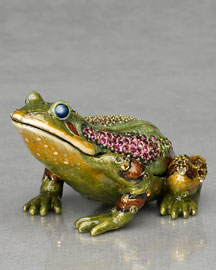 "Jay Strongwater ""Prince"" Frog Paperweight Clock"