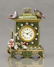 "Jay Strongwater ""Grace"" Songbirds Mini Clock"