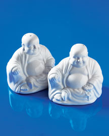 Buddha Salt & Pepper Shakers -   		Salt and Pepper Shakers - 	Neiman Marcus :  kitchen accessories stoneware salt and pepper shakers white