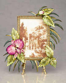 Jay Strongwater            Orchids Palm Leaf Frame -   		Jay Strongwater  - 	Neiman Marcus :  swarovski strongwater jungle leaf