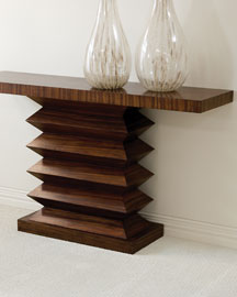 Zigzag Console -  Furniture & Rugs -  Neiman Marcus :  contemporary console table interior zebra wood veneer