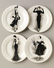 Gien            Fashion Plates, Set of Four -   Home - Neiman Marcus     :  set plates gray earthenware