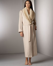 Loro Piana Mink Collar Cashmere Robe -  Intimate -  Neiman Marcus :  loro piana long sleeve wrap fur