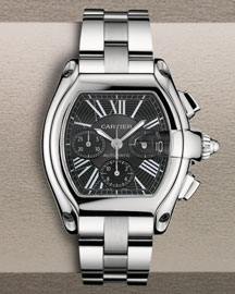 Cartier Extra-Large Roadster Steel Chronograph, Black -  For the Traveler -  Neiman Marcus