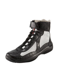 PRADA Linea Rossa Hi-Top, Crocodile Sneaker Black/Silver