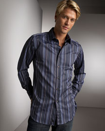 Etro            Striped Shirt, Black-  Neiman Marcus