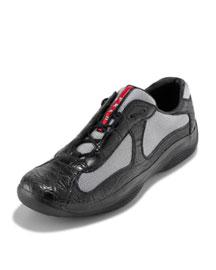 PRADA Linea Rossa Black Crocodile Sneakers