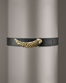 Just Cavalli Faux Ostrich Belt -  Accessories -  Neiman Marcus