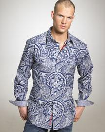 Robert Graham Blue Velvet Shirt- Neiman Marcus