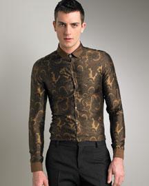 Burberry Prorsum Printed Silk Shirt- Burberry- Neiman Marcus :  italy burberry burberry prorsum gold
