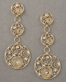 Roberto Coin Mauresque Three-Drop Earrings -  Earrings -  Neiman Marcus :  diamonds yellow earrings gold