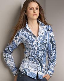 Craig Taylor- Danish Blue Paisley-Print Shirt- Neiman Marcus