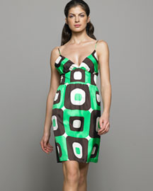 Milly            Printed Silk Dress -   		Apparel - 	Neiman Marcus :  geometric print neimanmarcus dress retro