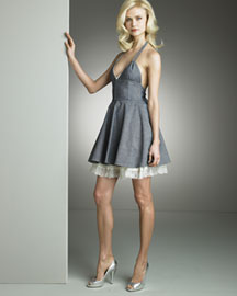 D&G Dolce & Gabbana Denim Halter Dress -  Apparel -  Neiman Marcus :  seamed denim dress minidress