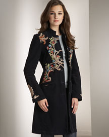 Johnny Was Collection Embroidered Corduroy Coat, Women's -  Johnny Was Collection  -  Neiman Marcus :  chic embroidered corduroy stitching accents