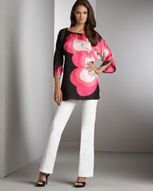 Tibi Silk Open Sleeve Tunic- Valentine's Date- Neiman Marcus :  woman style open print