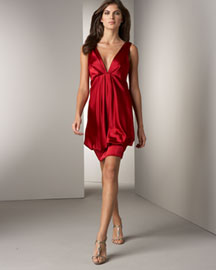 ABS by Allen Schwartz Tiered Satin Bubble Dress, Scarlet -  Neiman Marcus