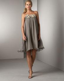 Amsale Silk Chiffon A-Line Dress